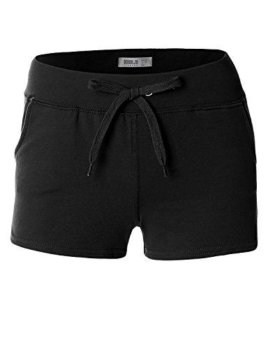 Doublju Womens Active Wear Traning Pants Trousers Gym Wear BLACK Short Pants,Small,S