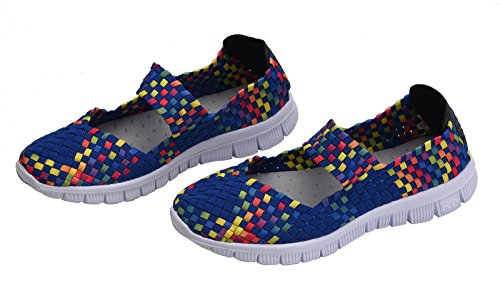 Women's Fashion Mary Shoes Janes Sneakers Walking Loafers Breathable Woven CAMSSOO on Stretch Mesh Slip Blue pdHaXSq