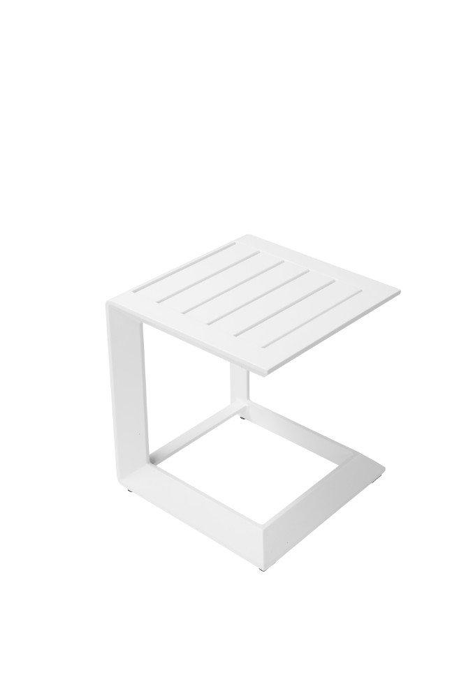 One White Benzara BM172089 Uniquely Structured Contemporary Aluminum Side Table