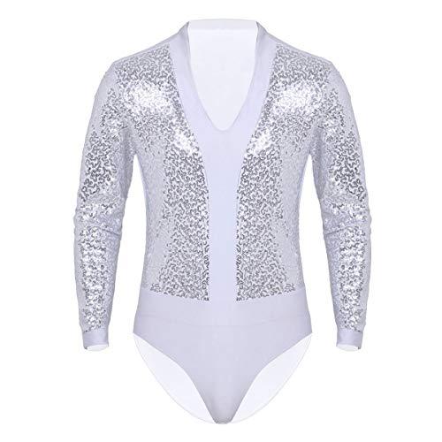 YONGHS Men's Shiny Sequins V Neck Long Sleeve Dance Shirt Leotard Bodysuit One Piece Dancewear White Medium