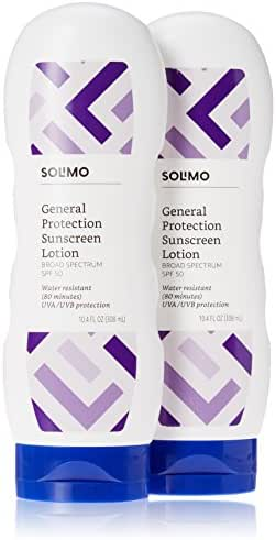 Amazon Brand - Solimo General Protection Sunscreen Lotion SPF 50, 10.4 Fluid Ounce (Pack of 2)