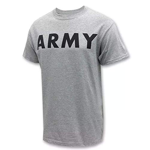 AMS Mens U.S. Army P/T Physical Training T-Shirt, Heather Gray With Reflective Lettering/Logo (U.S. Army Licensed Product) - Training Physical Shirt Logo