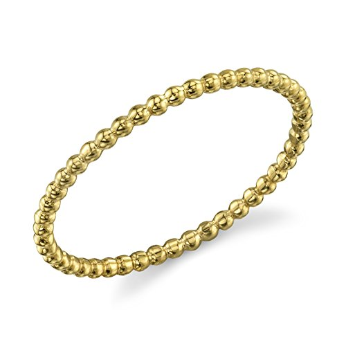 (10k Dainty Yellow Gold Ball Chain Beaded Eternity Thin Band Size)