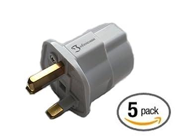 AMOS Schuko Shuko Style Socket EU Euro European 2-Pin to UK 3-Pin AC Mains Power Travel Visitor Adaptor Adapter Converter Power Plug White by AMOS