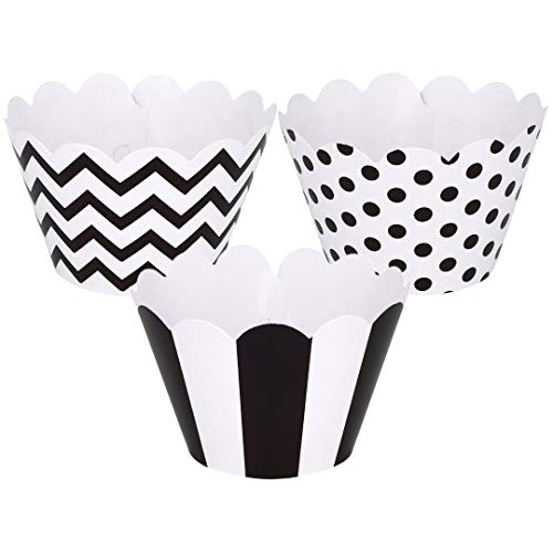 ZEALAX Wedding Black and White Cupcake Wrappers Muffins Holder Birthday Party Decoration, Set of 24, Chevron Stripe and Polka Dot