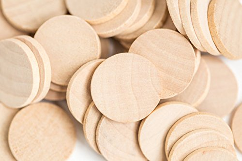 Supla 120 Pcs Solid Wood Round Circle Discs, Wood Circle Cut-Outs Wood Circles, Wooden Discs - 1 1/2 inch x 1/8 inch Unfinished Wooden Disks for (Out Circle)