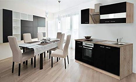 Respekta Empotrado Cocina Cocina Cocina Pequeña 210 cm Roble Sonoma Madera Aserrada Áspera Frontal Negro Ceran & Diseñador - Campana Inclinada
