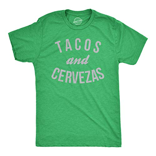 Mens Tacos and Cervezas Funny T Shirts for Cinco de Mayo Novelty T Shirt (Heather Green) - XXL