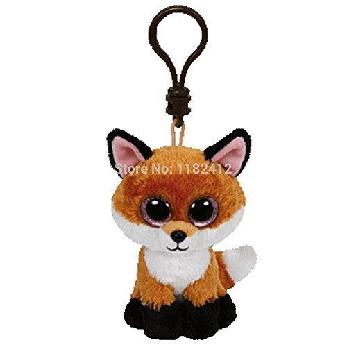 Fox Keychain (New TY Beanie Boos Slick the Fox Plush Clip Cute Keychains Key Chain 8cm Ty Big Eyes Plush Animals Kids Toys for Children Gifts by ToySDEPOT)