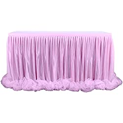 9ft Pink Table Skirt Threaded Ribbon Long Fluffy Mesh Tulle Table Skirt for Rectangle or Round Tables Baby Shower Wedding Birthday Party Decorations (Pink, 3 Yards)