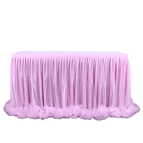 Fulu Bro 6ft Pink Table Skirt Threaded Ribbon Long Fluffy Mesh Tulle Table Skirt for Rectangle or Round Tables Baby Shower Wedding Birthday Party Decorations (Pink, 2 Yards) for $<!--$19.99-->