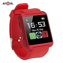 Amazingforless Red Bluetooth Touch Screen Smart Wrist Watch