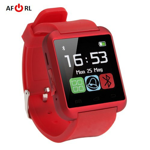 Amazingforless Red Bluetooth Touch Screen Smart Wrist Watch