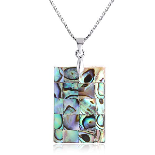 - FM FM42 Women's Abalone Shell Square Shape Pendant Necklace ZN1282