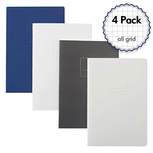 Composition Notebook Graph Paper - Simple Cover Design with 5mm Graph Pages, A5 Size 8.2 x 5.8 inch,100gsm Paper,160 Sheets/320Pages (All Grid, 4 Pack)