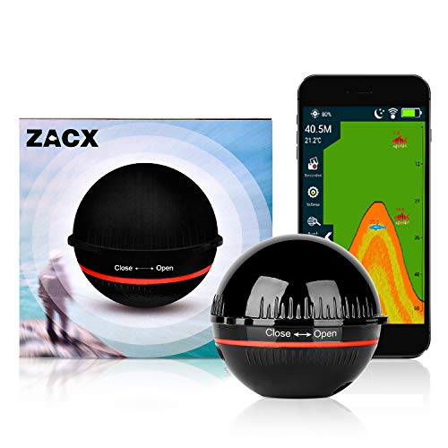 ZACX Sonar Fish Finder, Upgraded Fishing Gear Portable Wireless Bluetooth Fish Finder with iOS & Android Phone APP for Kayak/Ice/Boat Fishing