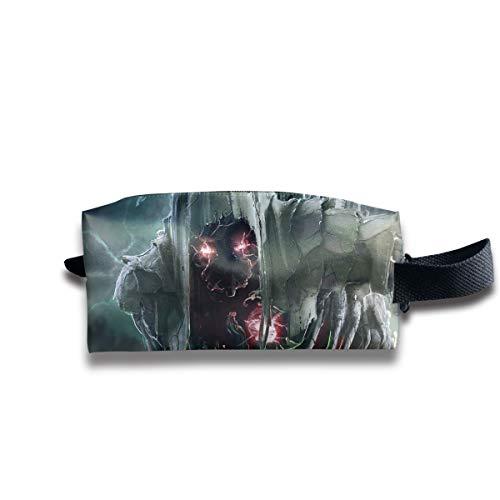 Hallowen Scary Skull Alien Red Eye Multi-Function Key Purse Coin Cash Pencil Travel Makeup Toiletry Bag Box -