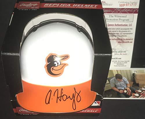 (Austin Hays Baltimore Orioles Autographed Signed Mini Baseball Helmet JSA WITNESS COA)