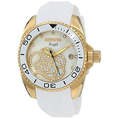Invicta Women's 0488 Angel Gold-Tone Watch with White Polyurethane Band by Invicta