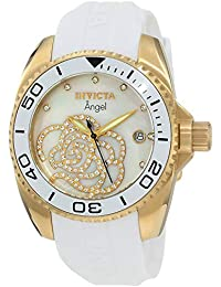 Womens 0488 Angel Gold-Tone Watch with White Polyurethane Band