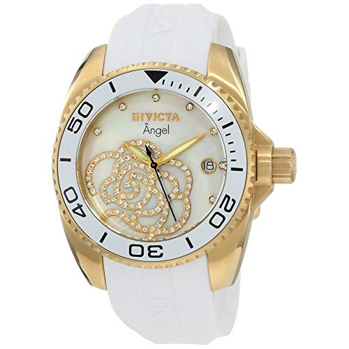 Invicta Women's 0488 Angel Gold-Tone Watch with White Polyurethane Band ()