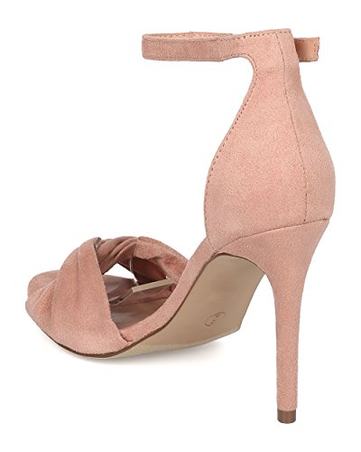 Dance Suede Peep Breckelles Stiletto Vegan Ankle Formal Faux Toe Strap Heel Heel Wedding by Sandal Party Stiletto Blush Prom GI68 Women qIIzRg6wF