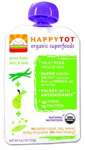 Happy Tot Organic Baby Food Stage 4 Green Beans, Pears & Peas, 4.22 Ounce Pouches (Pack of 16) by Happy Tot