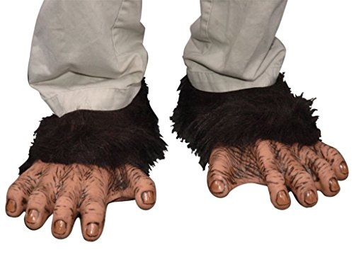 Adult Chimp Feet (Zagone Chimp Feet, Black Faux Fur, Tan  Primate Toes/Feet)