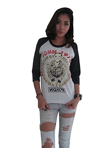 Bunny Brand Women's ELTON JOHN 1974 Tour Re-Printed Raglan T-Shirt (Large, White)