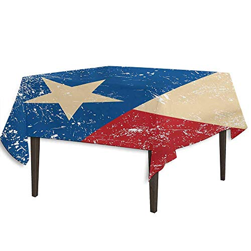 kangkaishi Texas Star Detachable Washable Tablecloth Grunge Flag Illustration with Lone Star Retro Independence Sign Great for Parties Festivals etc. W36.2 x L36.4 Inch Vermilion Beige Navy Blue]()