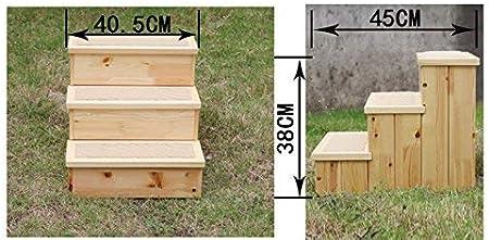 STOOL Hogar Gato de madera maciza Perro Escalera de 3 escalones Mesita de noche de interior Mesa auxiliar con función de espacio de almacenamiento: Amazon.es: Bricolaje y herramientas
