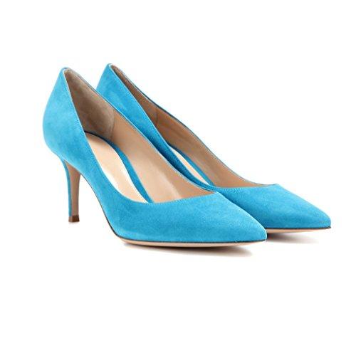 Büro Partei Blau Toe Heels EDEFS Damen Pumps Pumps Geschlossen Kitten Brautschuhe Pointed 65mm Klassische Kleid vnPwHF4