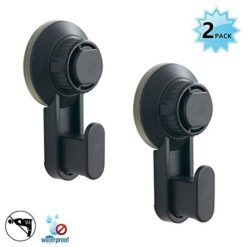 Walls Home & Decoration Powerful Vacuum Suction Cup Hooks - Organizer for Towel, Robe, Loofah - Black Matt Waterproof Suction Hooks Holder for Shower Bathroom Kitchen Restroom (2 Pack)
