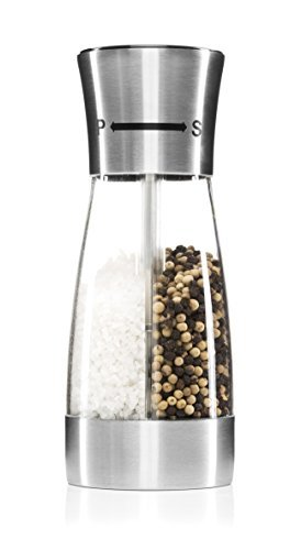 Elegant Dual Salt & Pepper Grinder by Lani Designs  Premium Quality 2 in 1 Pepper & Salt Mill Stainless Steel with Acrylic Casing