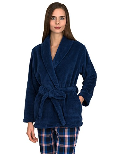 (TowelSelections Women's Bed Jacket Fleece Cardigan Cuddly Robe Large/X-Large True Navy)