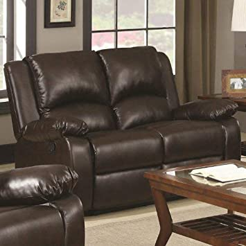 Super Coaster Home Furnishings Boston Double Motion Loveseat Two Tone Brown Short Links Chair Design For Home Short Linksinfo