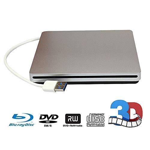 External Blu-ray DVD Drive USB Portable 3D Blu-ray(BD) CD Player USB3.0 CD/DVD-RAM/BD-ROM Superdrive CD+/- RW Burner Rewriter/Reader for PC Computer