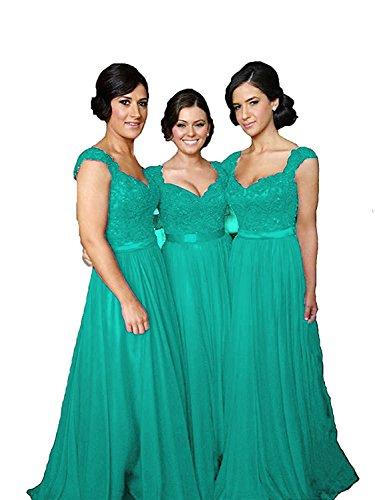 Fanciest Gowns Green Lace Turquoise Sleeve Women' Wedding Cap Dresses Bridesmaid Long Party U1Uqrnwz6F