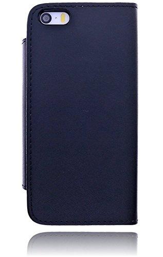 Burkley Premium Folio Book Case Tasche für das Apple iPhone 5C Etui Wallet Flip Cover Schutzhülle mit EC-/ Kreditkartenfach und festem Magnetverschluss in schwarz/ black - bi-color