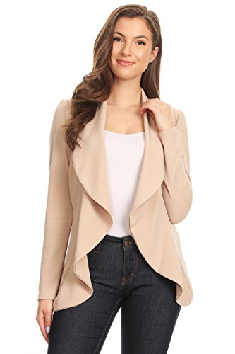 Women's Stretch Long Sleeves Open Front Blazer/Made in USA (S-3XL) Khaki ()