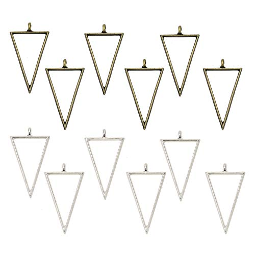 (JETEHO 12pcs 2 Colors 30 x 20 mm Triangle Open Bezels for Resin, Open Back Bezel Pendant Blanks for Jewelry Making(Bronze&Silver))