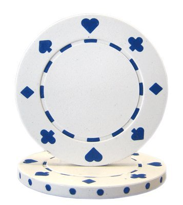 Brybelly Suited Poker Chips (50-Piece), White, 11.5gm