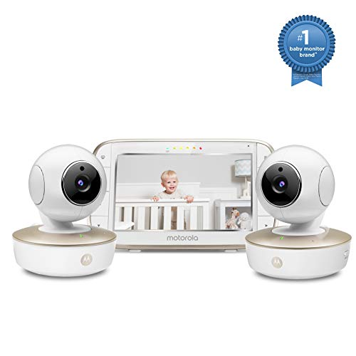 Motorola Video Baby Monitor - 2 Wide Angle HD Cameras with Infrared Night Vision and Remote Pan, Tilt, Zoom - 5-Inch LCD Color Display with Split Screen View, Room Temperature and Sound Alert MBP50-G2 2020