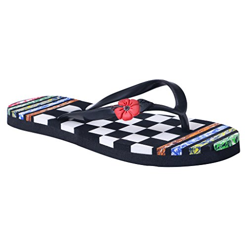 c26c7a087bcb HD Women s Multi Color Casual Rubber Flip-Flop Slippers (FBA  Hawai Linechase Black36)