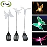 Aquarius CiCi 3 Packs Outdoor Garden Decorative Solar Powered Lights Colorful Landscape Lighting Hummingbird Butterfly Dragonfly Ground Lamp Patio, Pathway, Lawn, Yard