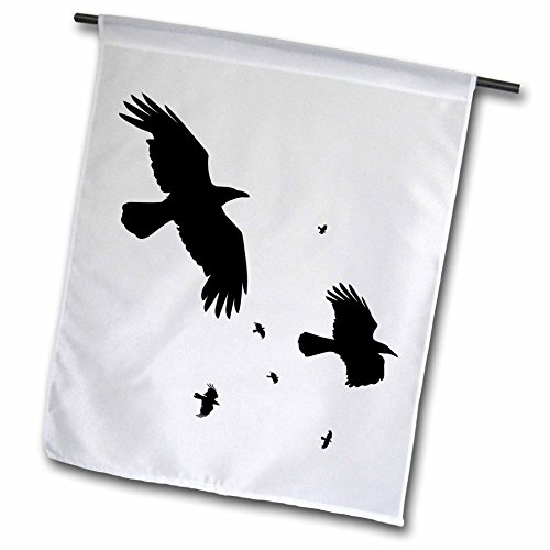 3dRose fl_78697_1 a Murder of Crows Animal Bird Crow Halloween Myth Silhouette Garden Flag, 12 by 18-Inch -