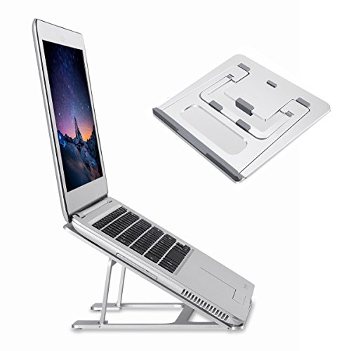 Folding Aluminum Macbook Stand HONGUO Universal 6 Angles Adjustable Desktop Ventilated Laptop Stand for 7-15 Notebook/ iPad / Tablets (For Slim Laptops Only)
