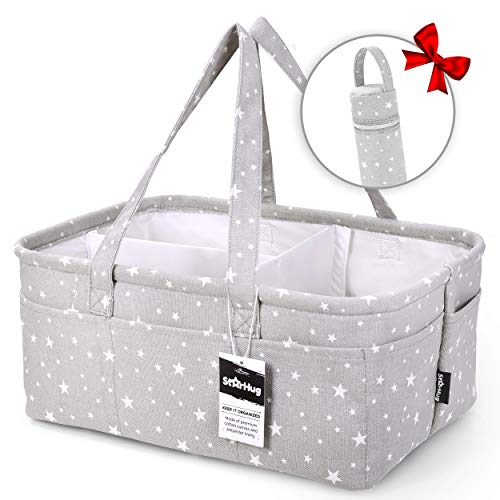 StarHug Baby Diaper Caddy Organizer - Baby Shower Gift Basket | Large Nursery Storage Bin for Changing Table | Car Travel Tote Bag | Newborn Registry Must Haves | Free Bonus Bottle Cooler
