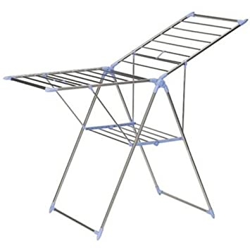 Household Essentials Adjustable Gullwing Style Clothes Drying Rack, Aluminum and Stainless 5022