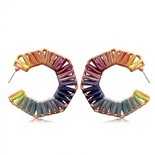 Statement Earrings Beaded Raffia Palm Bohemian Drop Dangle Earrings for women (G-CS2)